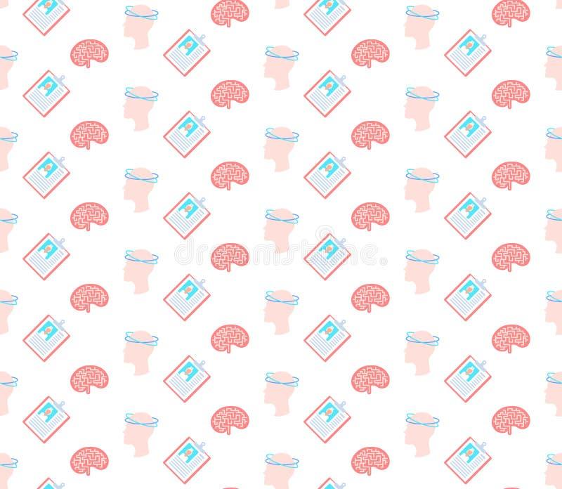 Concussion dizziness human brain icon healthcare medical service logo medicine symbol concept seamless pattern flat. Concussion diziness human brain icon royalty free illustration