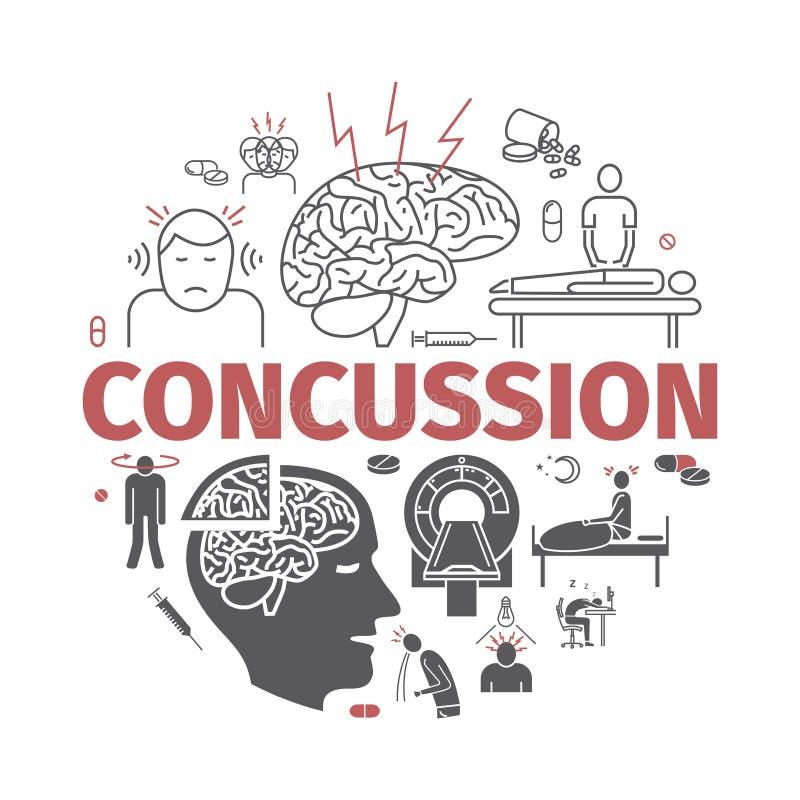 concussion Objawy, traktowanie Kreskowe ikony ustawiać Wektorów znaki dla sieci grafika royalty ilustracja