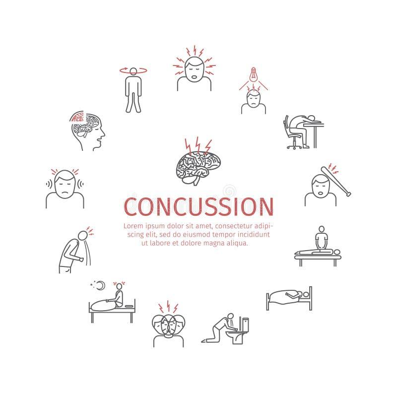 Concussion. Symptoms, Treatment. Line icons set. Vector signs for web graphics. Concussion. Symptoms. Line icons set. Vector signs for web graphics royalty free illustration