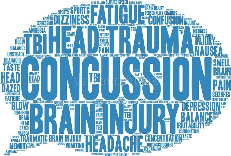 Concussion Word Cloud. On a white background vector illustration