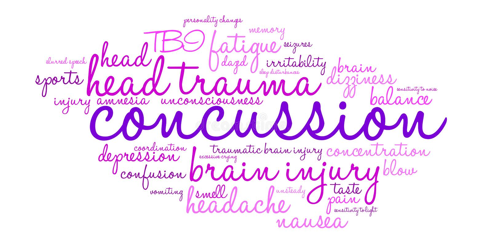 Concussion Word Cloud. On a white background stock illustration