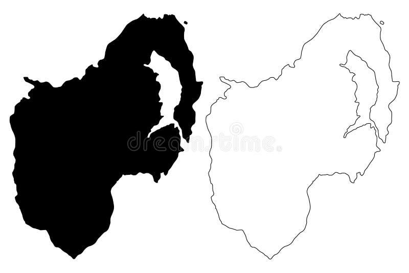 Condado abaixo do vetor do mapa ilustração stock