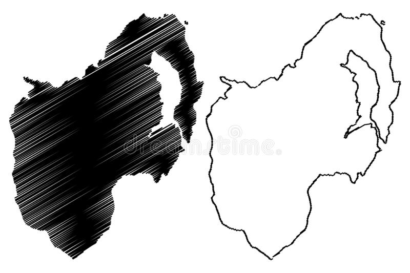 Condado abaixo do vetor do mapa ilustração royalty free