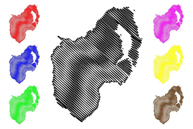 Condado abaixo do vetor do mapa ilustração do vetor