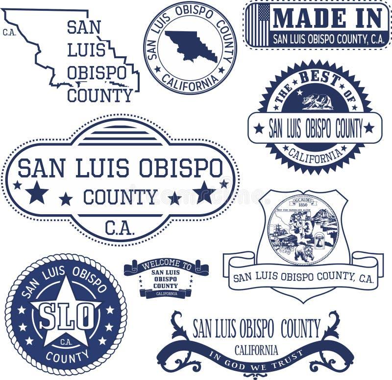 Condado de San Luis Obispo, CA Grupo de selos e de sinais ilustração stock