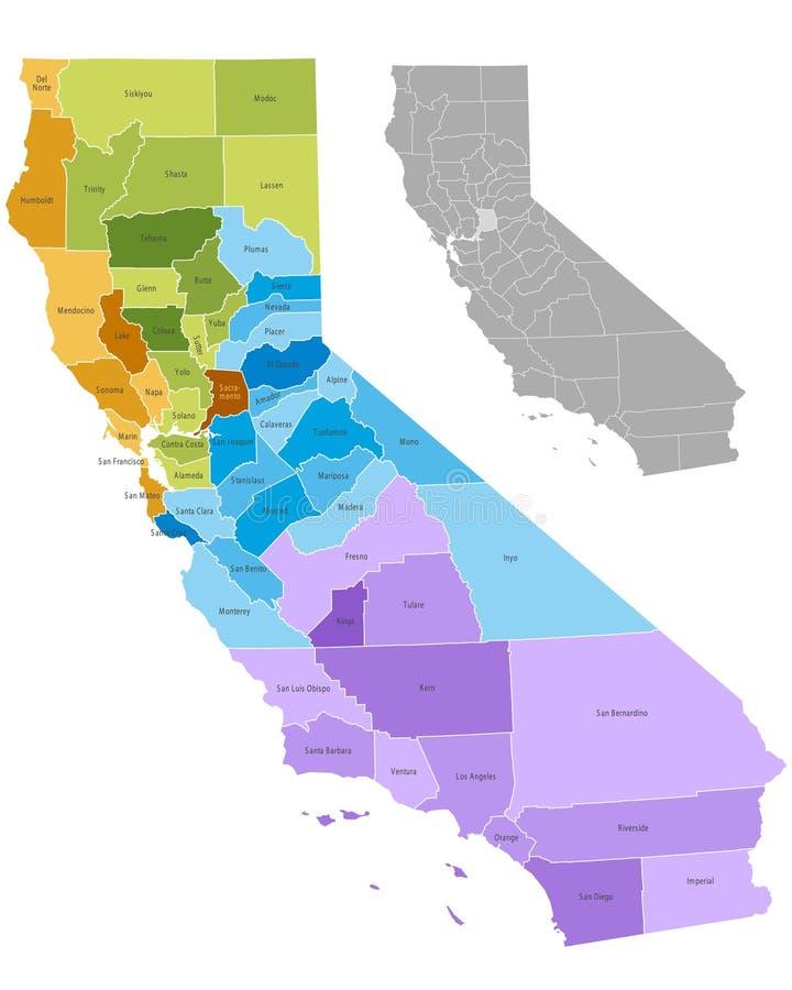 Condados de Califórnia ilustração stock