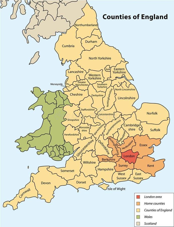 Condados de Inglaterra ilustração stock