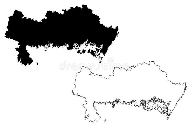 Condados del condado de Blekinge de Suecia, reino del ejemplo del vector del mapa de Suecia, mapa de Blekinge del bosquejo del ga stock de ilustración