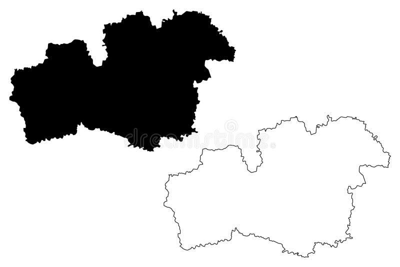 Condados del condado de Kronoberg de Suecia, reino del ejemplo del vector del mapa de Suecia, mapa de Kronoberg del bosquejo del  ilustración del vector