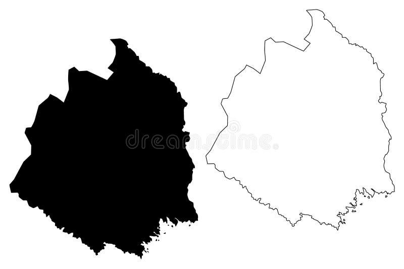 Condados del condado de Norrbotten de Suecia, reino del ejemplo del vector del mapa de Suecia, mapa de Norrbotten del bosquejo de stock de ilustración