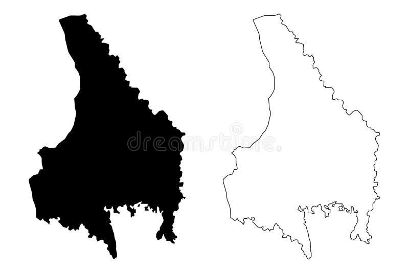 Condados del condado de Varmland de Suecia, reino del ejemplo del vector del mapa de Suecia, mapa de Värmland del bosquejo del ga libre illustration