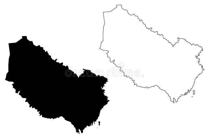Condados del condado de Vasterbotten de Suecia, reino del ejemplo del vector del mapa de Suecia, mapa de Västerbotten del bosquej libre illustration
