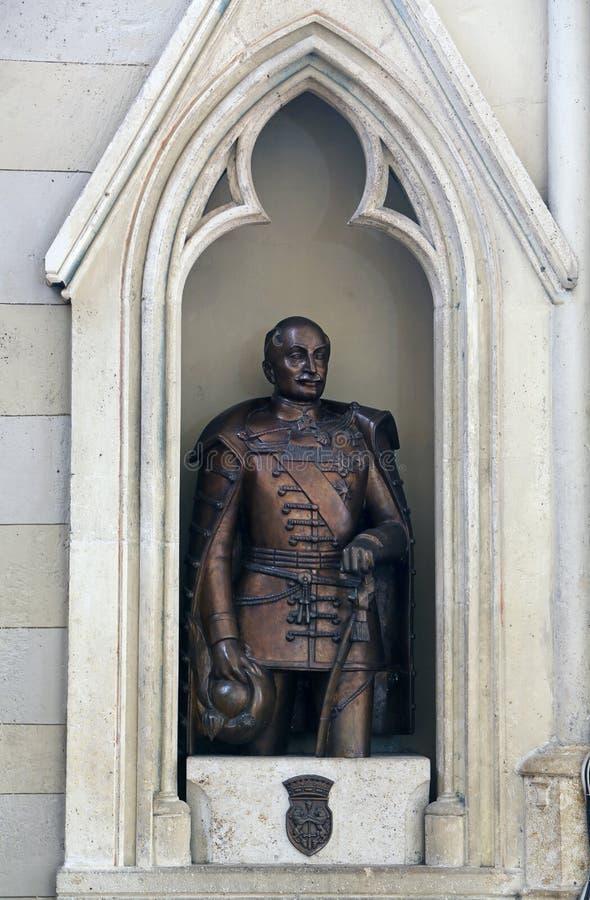 Conde Josip Jelacic, estatua en la catedral de Zagreb imagenes de archivo