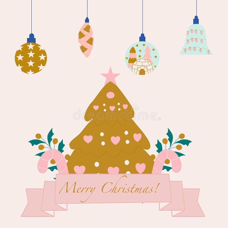 Condecoração de natal e árvore de natal dourada, ilustração vetorial ilustração stock