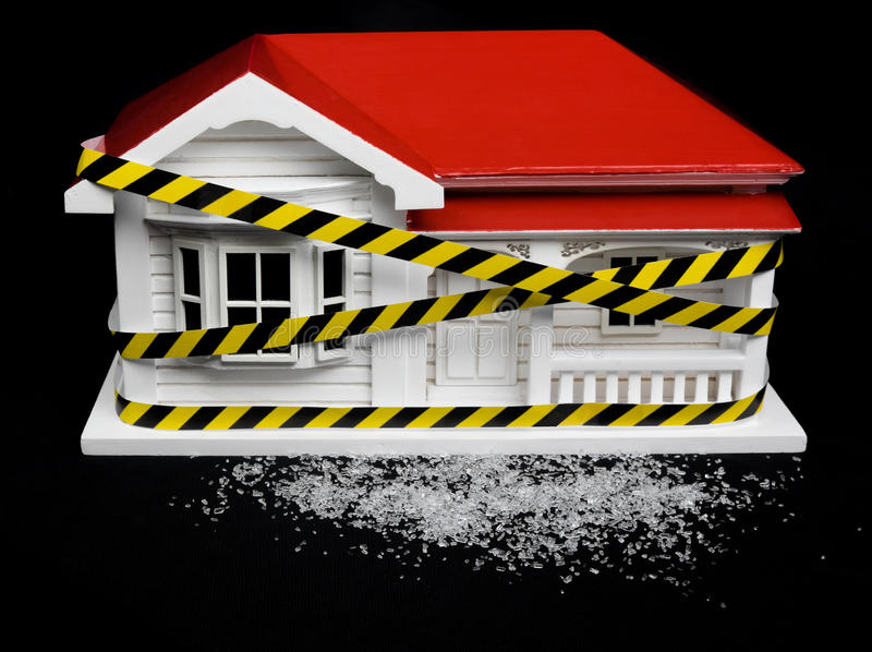 Condemned drug contaminated home concept New Zealand NZ villa ho. Use and crystalline substance that may resemble crystal meth, ice, crystal methamphetamine royalty free stock photography