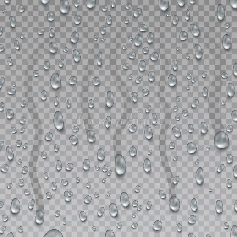 Condensação, pingo de chuva na superfície transparente Gota do grupo do vetor da água Gotas da água ilustração royalty free