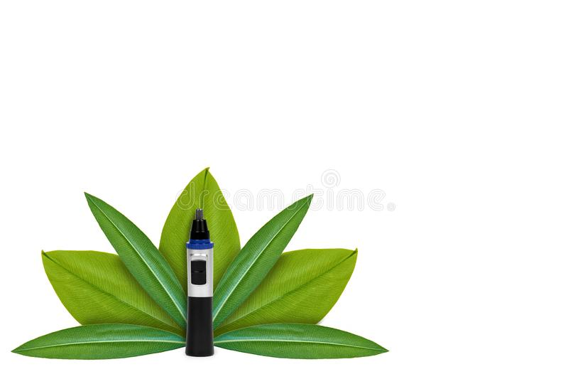 Condensador de ajuste eléctrico de la nariz en el fondo de hojas verdes Aislado en blanco noción del origen natural imágenes de archivo libres de regalías