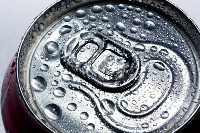 Condensation on drinks can stock image