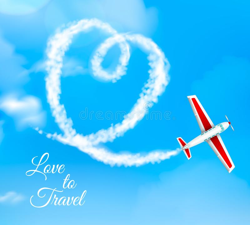 Condensation Trail Heart Realistic royalty free illustration