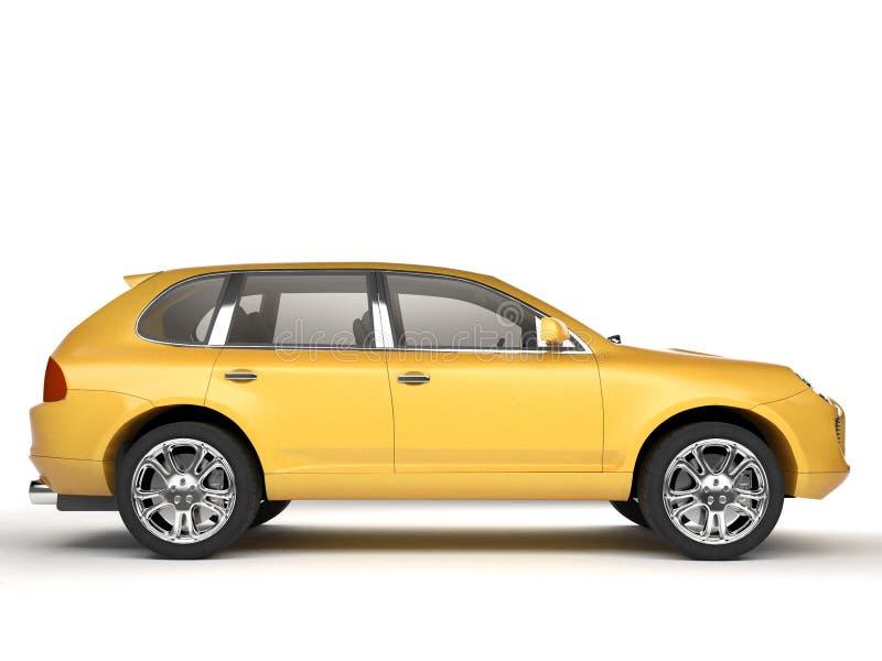 Condense la vista lateral amarilla de SUV stock de ilustración