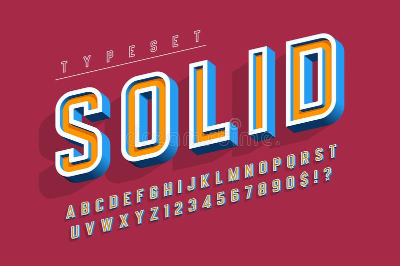 Condensed bold 3d display font, alphabet, letters and numbers. vector illustration