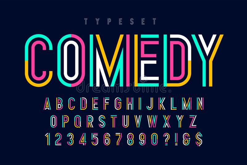 Condensed colorful display font design, alphabet and numbers. Color swatches control royalty free illustration