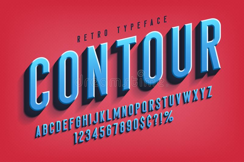 Condensed 3d display font design, alphabet, letters. And numbers. Swatch color control vector illustration
