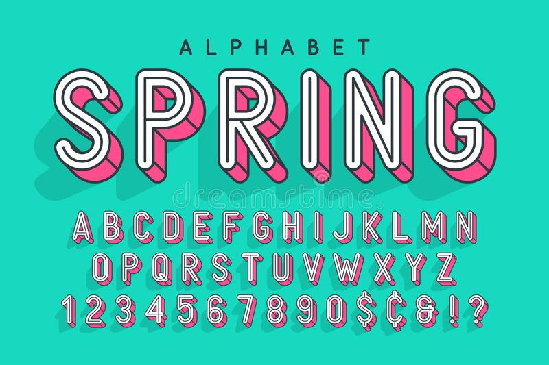 Condensed display font popart design, alphabet, letters and numb royalty free illustration