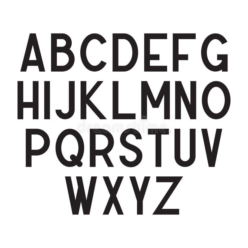Condensed typeface, minimalistic black alphabet. Condensed typeface, big black alphabet isolated on white background. Simple retro or modern minimalistic letters royalty free illustration
