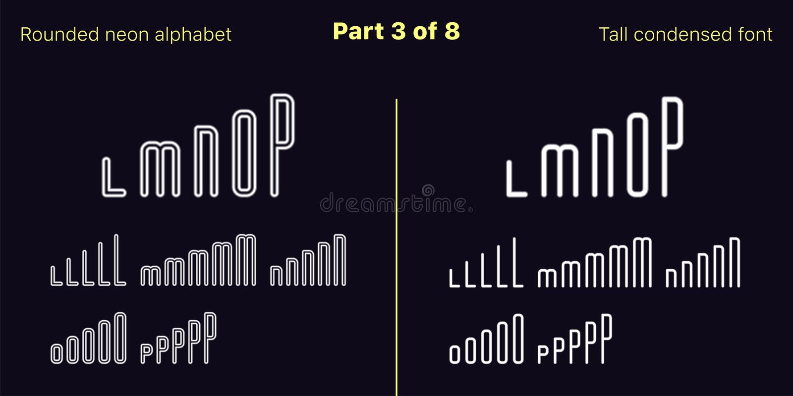 Condensed White neon font, Rounded. Vector set royalty free illustration