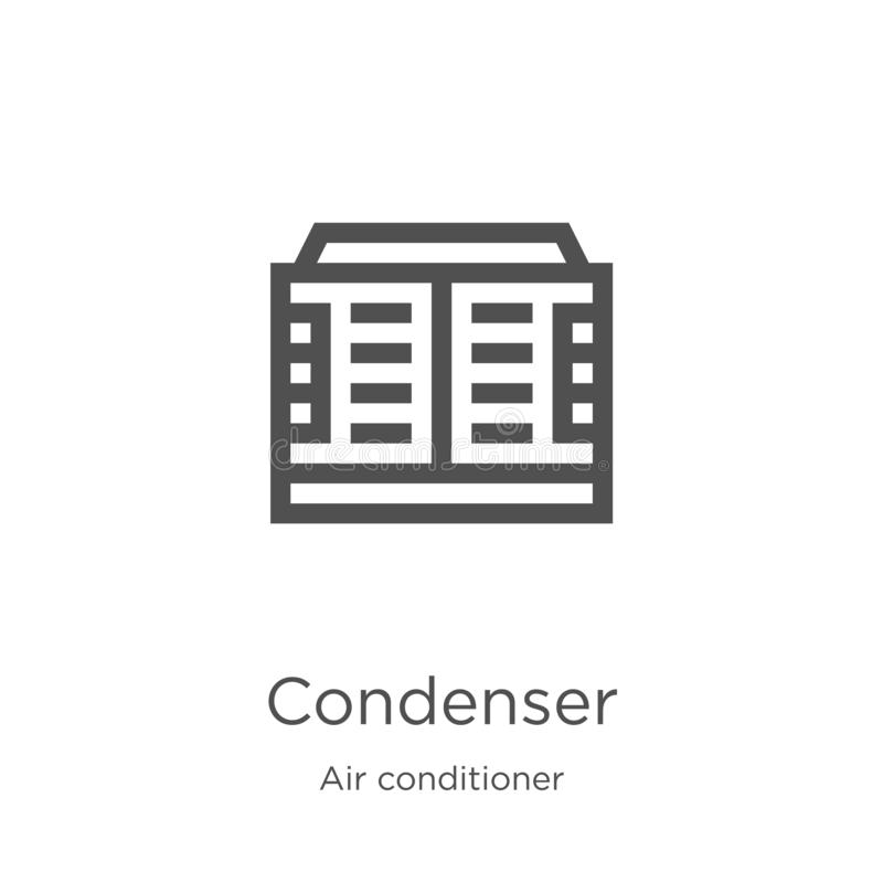 Condenser icon vector from air conditioner collection. Thin line condenser outline icon vector illustration. Outline, thin line. Condenser icon. Element of air royalty free illustration