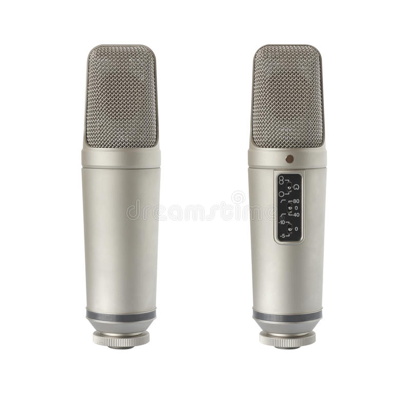 Condenser microphone - back and front view. Back and front view of condenser microphone, isolated on white royalty free stock photography