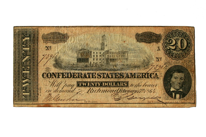 Conderate bill printed in Richmond, Virgina, 1864, showing the State Capital Building in Nashville,. $20 in Confederate US Money, Now Worthless royalty free stock images