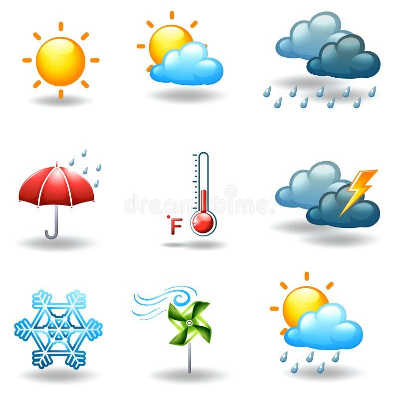 Condições meteorológicas diferentes ilustração stock