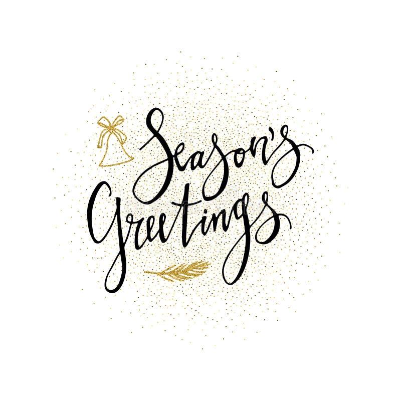 Condice la cartolina d'auguri Frase di calligrafia con il presente di scintillio dell'oro Iscrizione moderna Invito di nuovo anno royalty illustrazione gratis
