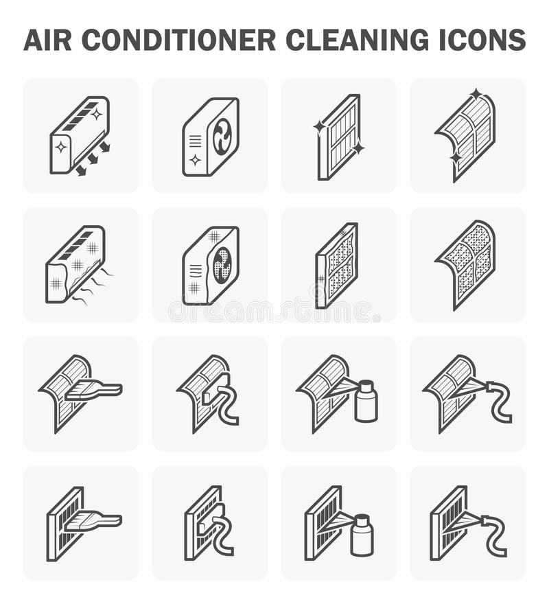Condicionador de ar e limpeza ilustração royalty free