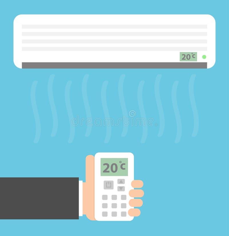Condicionador de ar e uma m?o que guarda um telecontrole imagem de stock