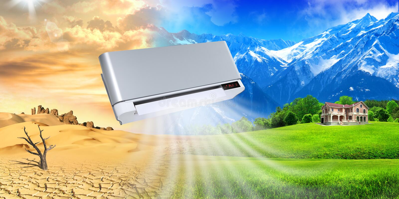 Condicionador de ar. Microclima do espaço vital. fotos de stock royalty free
