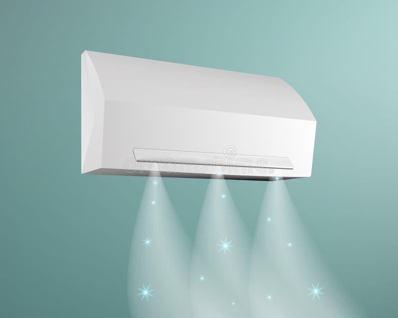 Condicionador de ar no fundo da ilustração azul do vetor da parede Funde o ar frio com flocos de neve ilustração royalty free