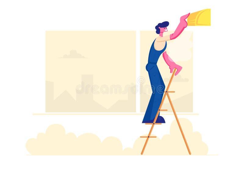 Condicionador quebrado de fixação do homem acessível que está na escada em casa, controle estabelecido trabalhador do clima, técn ilustração royalty free