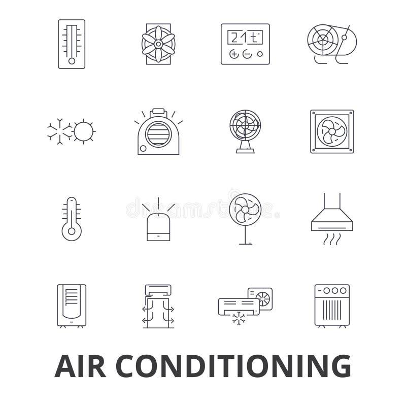 Condicionamento de ar, ATAC, coolling, aquecendo-se, refrigerador, termostato, linha ícones do termômetro Cursos editáveis liso ilustração stock
