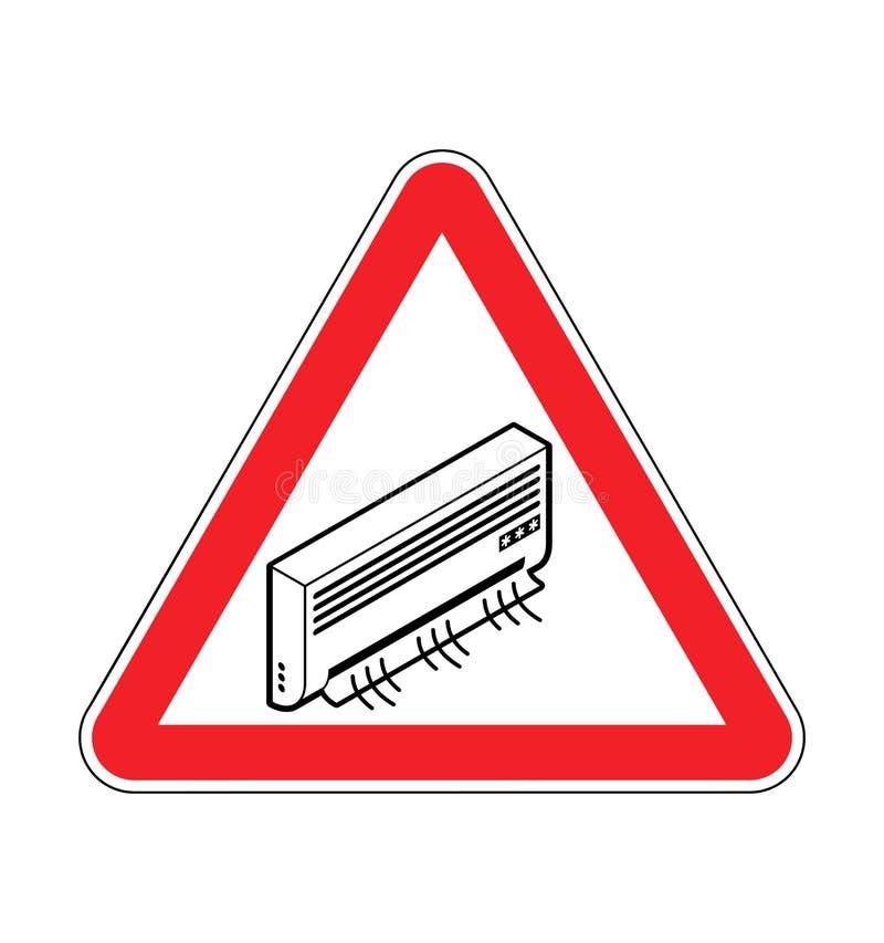 Condicionamento de ar da atenção Advirta refrigerar Sinal de estrada vermelho do tri?ngulo ilustração do vetor