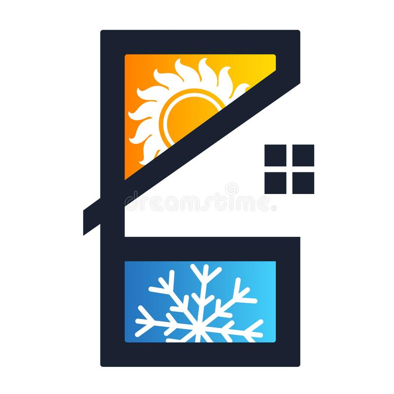 Condicionamento de ar e casa da ventilação ilustração do vetor