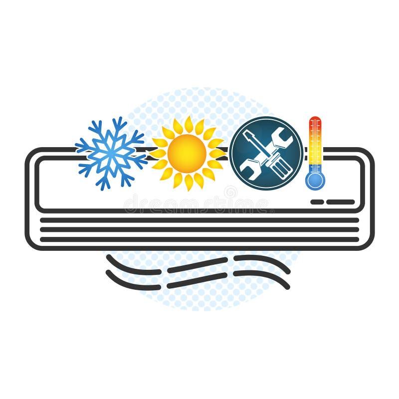 Condicionamento de ar e símbolo da ventilação ilustração royalty free