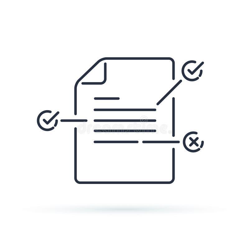 Condiciones del contrato Documente el papel con concepto creativo de la escritura o de la narración Lea el breve resumen stock de ilustración