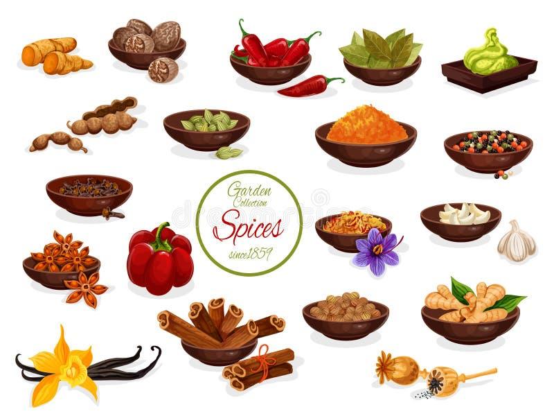 Condimente el cartel con el sistema de condimento y de condimento stock de ilustración