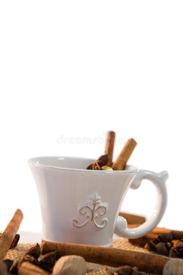 Condimente el té con los diversos ingredientes contra el fondo blanco fotos de archivo