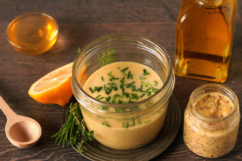 Condimento della senape del miele immagini stock