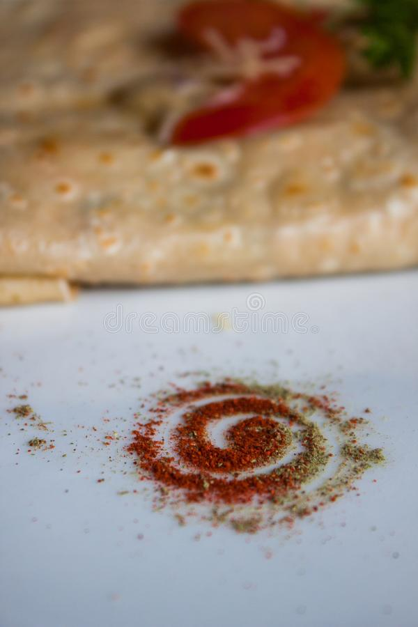 Condimento do tempero do tempero do pó dos oréganos da pimenta vermelha do alimento fotografia de stock royalty free