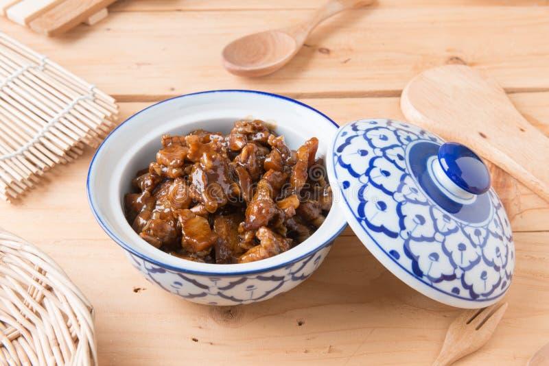 Condimento dulce del cerdo (el nombre tailandés es el muu waan) imágenes de archivo libres de regalías
